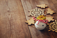 Image of  wooden christmas decorations. Selective focus Royalty Free Stock Photography