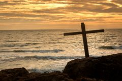 Jesus Christ Cross by The Ocean stock photo