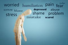 image of wooden dummy with worried stressed thoughts. depression, obsessive compulsive, adhd, anxiety disorders concept.