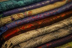 Image of wool and silk scarfs Stock Images