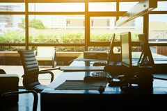 Image of workplace. Detail image of workplace, Modern Office Interior background stock image