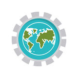 Image with world map in toothed circle. Vector illustration Stock Photography