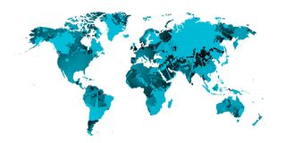 Blue World map of blue stains and shadows.