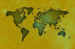 3d Map of the world over yellowish sky