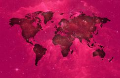 Purple world map over spatial background. Image of the world in sky environment with backgroud of stars stock illustration