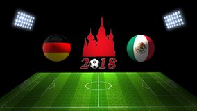 World Soccer Cup Match 2018 in Russia : Germany vs. Mexico, in 3. Image of World Soccer Cup Match 2018 in Russia : Germany vs. Mexico, in 3D Stock Image