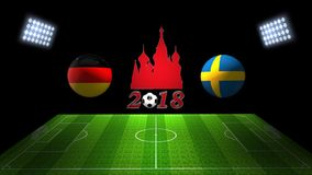 World Soccer Cup Match 2018 in Russia : Germany vs. Sweden, in 3. Image of World Soccer Cup Match 2018 in Russia : Germany vs. Sweden, in 3D Stock Photography