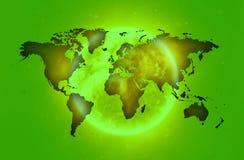Green World map over iluminated aura.