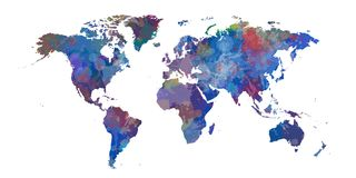 Blue World map of colorist stains and shadows.