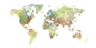 World map of colorist stains and shadows.