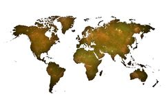 Ochre world map over spatial background.