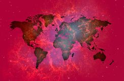 Reish world map over spatial background.