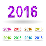 Image Year 2016 in the crystalline style of different colors. Stock Images