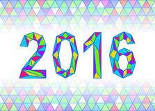Image Year 2016 in the crystalline style of rainbow colors. Stock Photo