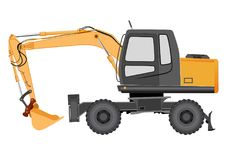 Image of a yellow excavator on a wheeled chassis Stock Image