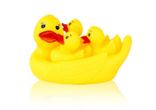 Image of yellow mother duck rubber and ducklings rubber Royalty Free Stock Photos
