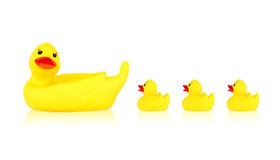 Image of yellow mother duck rubber and ducklings rubber Stock Photos
