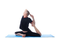 Image of yogi posing in difficult asana Stock Photo