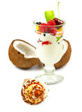 image of yogurt in a glass with fruit on a white background close up Stock Photography