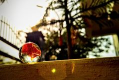 The marble ball in the sun rays stock photography