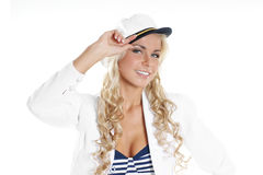 Image of a young blond posing in a sailor costume Royalty Free Stock Photography