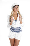 Image of a young blond posing in a sailor hat Stock Photo