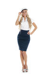 Image of a young blond posing in a sailor hat Stock Photography
