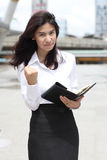 Image of young business woman, gesturing success Royalty Free Stock Photo
