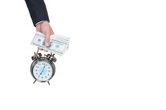 Image of young businessman and pocket watch. royalty free stock photos