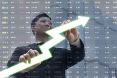 Image of young businessman pulling graph. Chart growth concept. Image of young businessman pulling graph,Chart growth concept,A city worker analyze illustrated Stock Photo