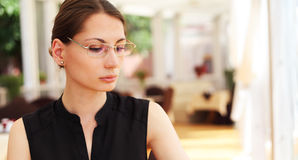 Image of young businesswoman in cafe Royalty Free Stock Photos