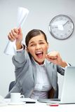 Gladness. Image of young businesswoman shouting in luck royalty free stock images
