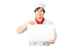 Cook holds a white blank Royalty Free Stock Images