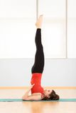The image young girl does exercises. Royalty Free Stock Images