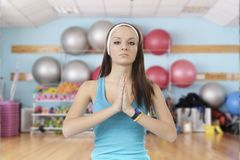 Young girl is engaged in fitness royalty free stock photos