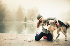 Image of young girl with her dog, alaskan malamute, outdoor. At autumn or winter. Domestic pet. Husky Stock Photography