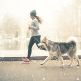 Image of young girl running with her dog, alaskan malamute. Outdoor at autumn or winter. Mourning jogging. Domestic pet. Husky. Guide-dog Royalty Free Stock Photo
