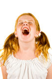 Image of young girl screaming. On a white background Royalty Free Stock Images