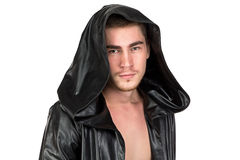 Image of the young man in hood. On white background Stock Photo