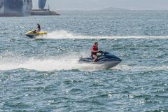 Young man on a jet ski on the sea. Image of young man on a jet ski on the sea Royalty Free Stock Images