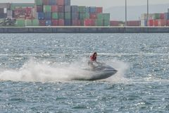 Young man on a jet ski on the sea. Image of young man on a jet ski on the sea Royalty Free Stock Photos
