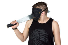 Image of the young man in mask with hatchet Stock Photography