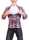 Image of young man tearing his shirt off isolated. Superhero. Image of young man tearing his shirt off isolated on white background Royalty Free Stock Photos