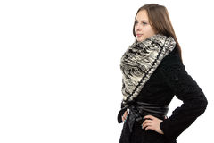 Image of the young serious woman in fur coat Royalty Free Stock Photo