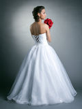Image of young slim model posing in wedding dress Royalty Free Stock Images
