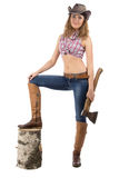 Image of young woman with axe Stock Images