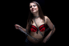 Image of young woman in bra with chain Royalty Free Stock Photos
