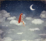 Image of a young woman on cloud,  lit  star Stock Images