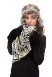 Image of young woman in fur cap Stock Images