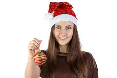 Image of young woman holding christmas ball Royalty Free Stock Photo